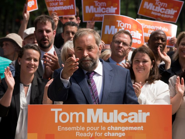 NDP Leader Thomas Mulcair speaks to supporters during a campaign stop on Mount Royal Tuesday, August 4, 2015 in Montreal. THE CANADIAN PRESS/Ryan Remiorz