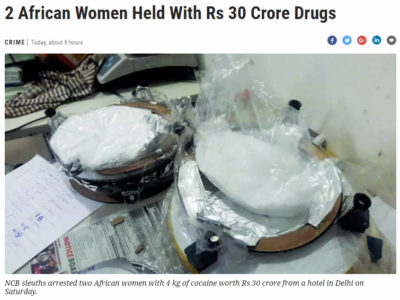 Tanzanian Woman nabbed with Cocaine in India